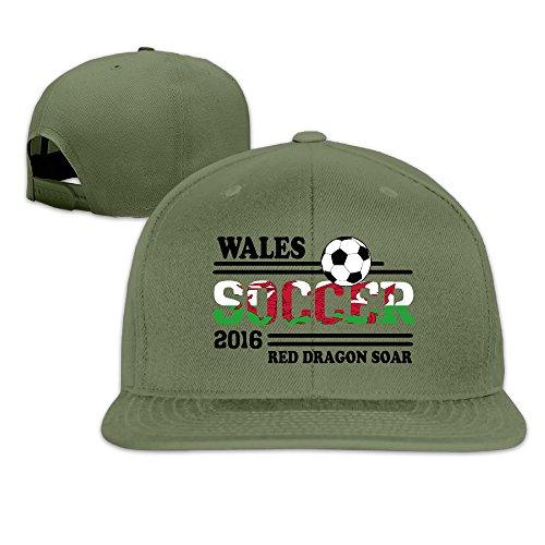 Unisex Euro 2016 Soccer Wales Ajustable Snapback Flat Cap ForestGreen