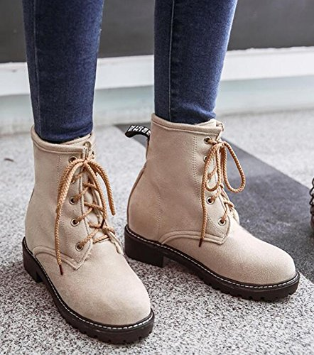 Idifu Mujeres Classic Low Chunky Heels Faux Suede Lace Up Martin Botines Frosted Botines Cortos Beige