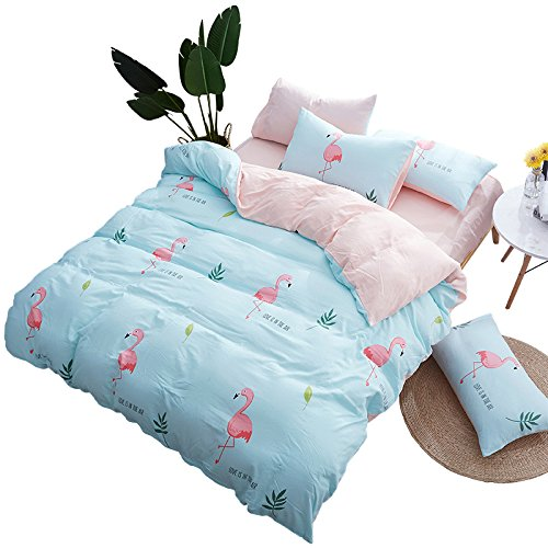 KFZ Bed Set Bedding Set Duvet Cover Flat Sheet Pillow Covers No Comforter Twin Full Queen King Sheets Set HYL Flanmingo Deer Puggy Pig Design Sheets Set for Kids (Animal Flamingo, Blue, King 86''x94'') by KFZ