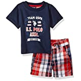 U.S. Polo Assn. Baby Boys' Graphic T-Shirt with Plaid Short Set, Navy/Red, 3/6 Months