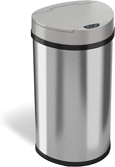 Itouchless 13 Gallon Sensor Kitchen Trash Can With Odor Control System Stainless Steel Semi Round Extra Wide Opening Touchless Automatic Garbage Bin Home Kitchen
