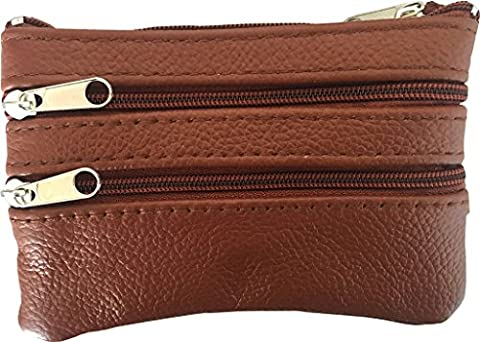 Maven Leathers Genuine Leather Coin Purse with Key Ring, Coffee