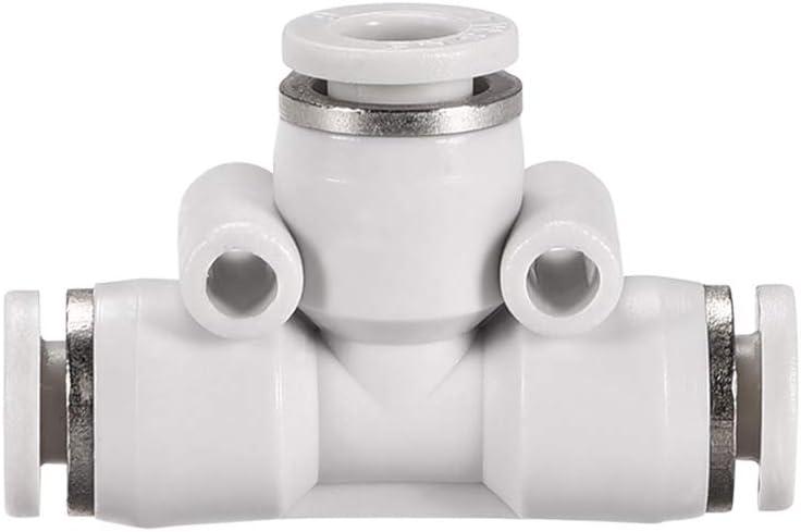 sourcing map Raccordo a T Plastica Raccordi Collegamento a Pressione Tubo 8mm-6mm Diametro Esterno Push Lock Bianco 2pz