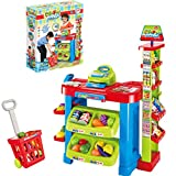 DDgrin Food Shopping Cart Grocery Supermarket Stand Pretend Play w/ Realistic Food, Register w/ Lights and Sound