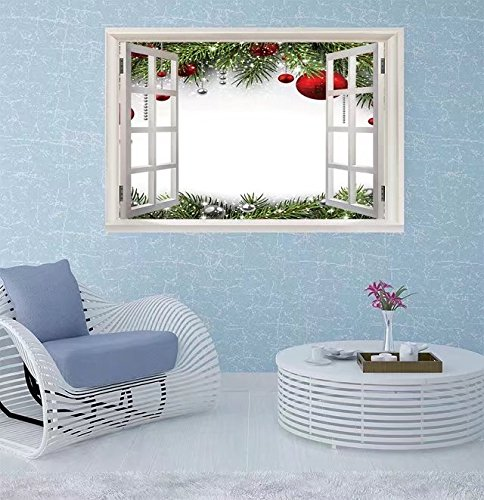 FBAhome Wall Sticker- Christmas background with fir branc Window Frame Style Wall Sticker Home Decor (24