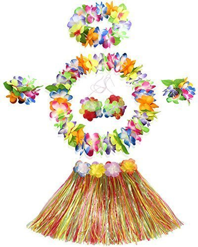 WISDOMTOY 6- piece Holiday Christmas Party Costumes Hawaiian Hula Grass Skirt Dance Wears Clothing Set, Multicolor
