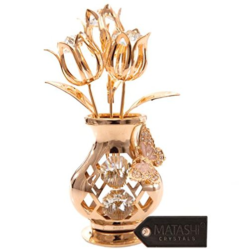 Matashi Mother's Day Gift 24K Gold Plated Crystal Studded Flower Ornament in a Vase with Decorative Butterfly by with Luxury Gift Box - Best Mother's Day Gift
