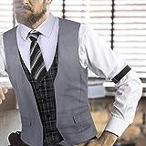 COOFANDY Men's Business Suit Vest Layered Plaid