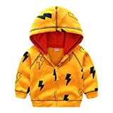 Little Boys Thunder Flash Printed Hooded Jacket Coat Cotton Lined Outerwear Yellow Size 120
