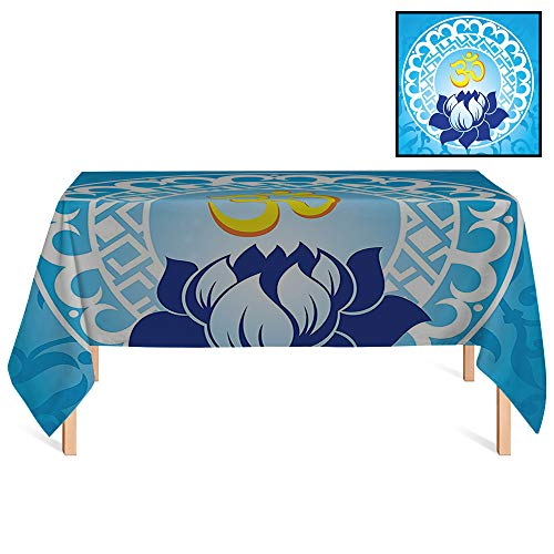 SATVSHOP Vintage Tablecloths /60x120 Rectangular,Chakra Spiritual Design with Lotus Flower Petal Mystic Powers of Nature Light Blue.for Wedding/Banquet/Restaurant.