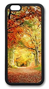 Red Foliage TPU Case Cover for iPhone 6 Black