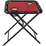 Sunnydaze Folding Sling Side Table with Mesh Drink Holders, Outdoor Patio or Portable Camping Accessory, Red