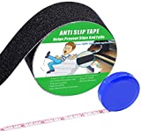 Anti Slip Tape, High Traction,Strong Grip Abrasive, Not Easy Leaving Adhesive Residue, Indoor & Outdoor, with Measuring Tape (2'' Width x 190'' Long, Black)