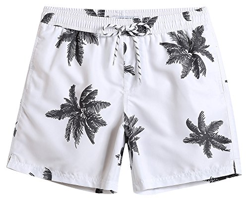 MaaMgic Mens Quick Dry Palm Tree Swim Trunks With Mesh Lining Swimwear Bathing Suits, White, Large(Waist-31