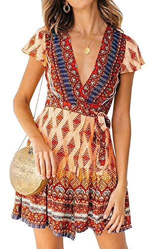 (Womens Bohemian Dresses Loose Summer Cotton Semi Formal Shift Tunics Dress Casual Trapeze Beach Wear Printed Tunic Dresses for Women Beige Size S)