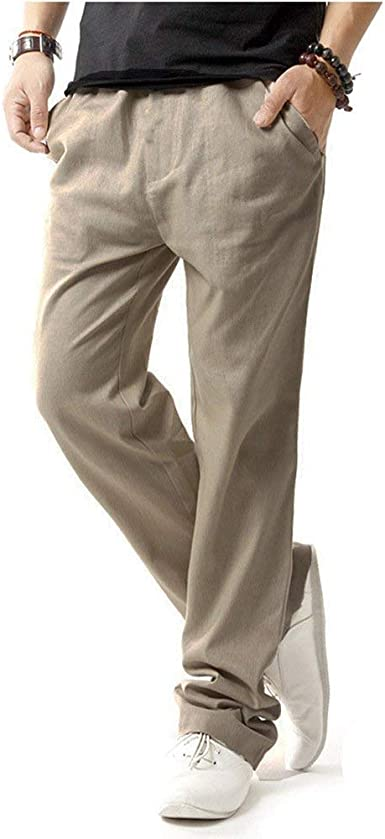 Pantalones Para Hombres Pantalones Largos De Playa Para Hombres Simple Estilo Pantalones De Lino Pantalones De Tela Sueltos Amazon Es Ropa Y Accesorios
