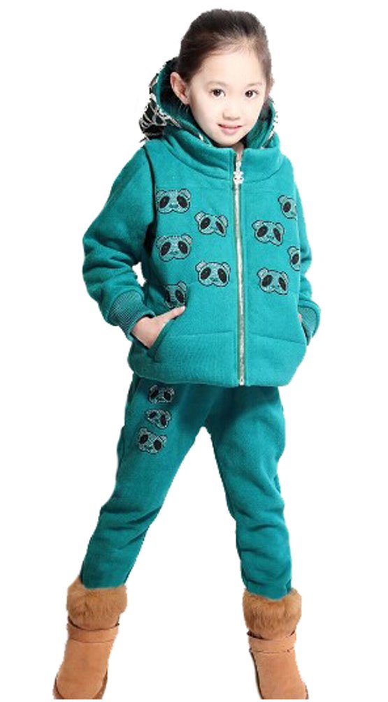 Sarah Girls 3 piece Hooded Casual Sports Suit Hot Drilling Little Bear#DYC371