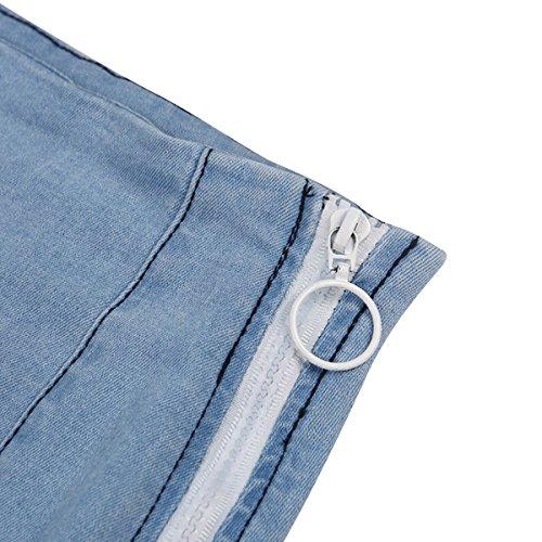 Jupe Mini Jeans Dlav Zipper Taille Jupe Sexy Rtro Denim Ylangareee Mode New Bleu Femmes Haute Femme 6nExHF