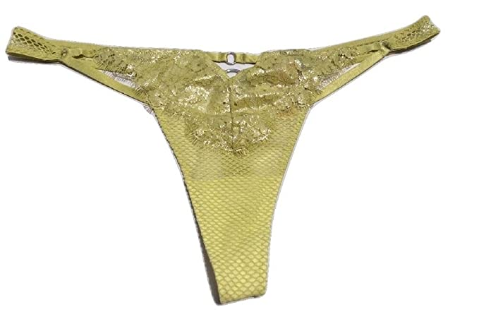 3596e195a3818 Victoria's Secret Women's Shimmer Mesh Lace Thong Small Lime at ...