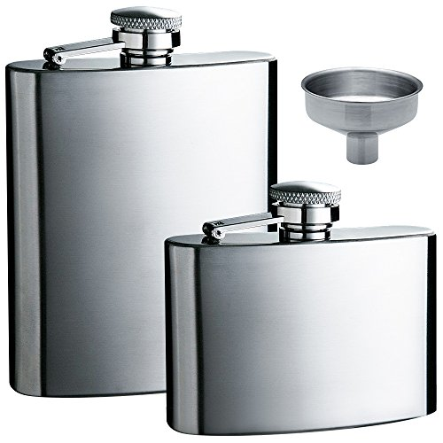 Hip Flask 5oz and 8 oz with One Handy Funnel, maxin 2 packs Stainless Steel Leak Proof Liquor Hip Flasks with Funnel for Storing Whiskey/Alcohol. by maxin