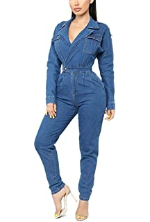 3228293f7b5 LKOUS Womens Casual Long Sleeves High Waist One Piece Cargo Ripped Jean  Pant Demin Jumpsuits Romper