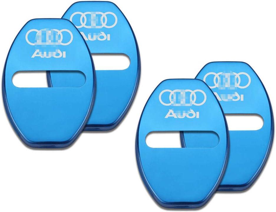 A5 Q7 Q3 A4L Q5L A7 Q2L,Blue,Audi L/&U 4 Piezas de Acero Inoxidable Cerradura de la Puerta Cubierta del Delantero Cubierta del Delantero para Audi A6L A3