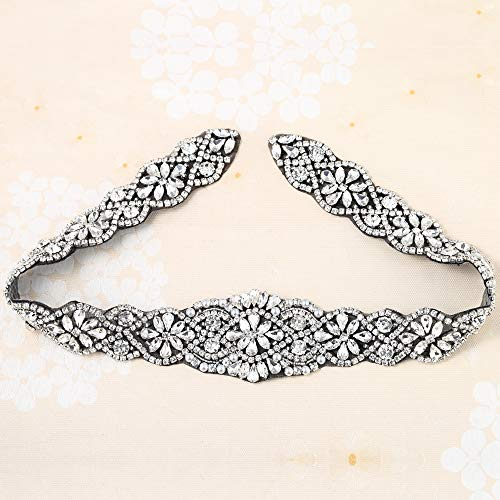 Crystal Applique with Black Back Adhesive, FANGZHIDI Beaded Applique with Silver Rhinestone Claw- Best for DIY on Wedding Dress, Bridal Belt Sash