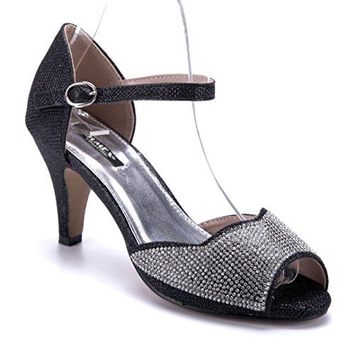 Schuhtempel24 Damen Schuhe Sandaletten Sandalen Trichterabsatz Glitzer/Ziersteine 7 cm Schwarz