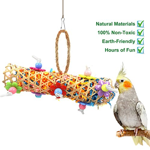 BWOGUE Small Bird Chewing Toy Handmade Conure Parrot Foraging Shredding Climbing Hanging Toy for Small Medium Birds