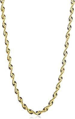 14k Yellow Gold Hollow Mens 4mm Rope Chain Necklace