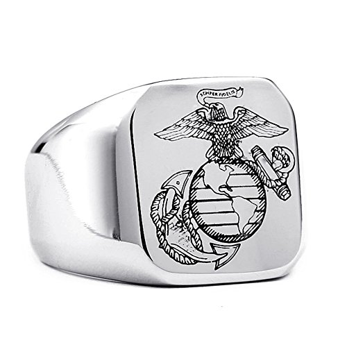 JAJAFOOK Mens US Marine Corps Square Signet Silver Rings, Stainless Steel Ring Band Size 07-13