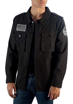 1ea7e71d2 Marvel Utility Punisher Jacket Men's Vigilante Skull Logo Button Up Jacket ( Small) Black