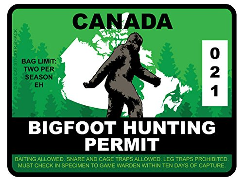 Bigfoot Hunting Permit - Canada (Bumper Sticker)