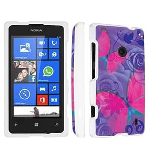 SkinGuardz Nokia Lumia 521 Full Protection Hard Case - (Pink Butterfly White)