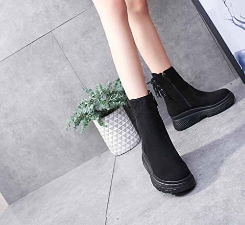 KHSKX-Retro Sponge Cake Thick Harajuku Martin Boots Women England In The Autumn Wind Winter Plus Velvet Women'S Shoes The New High-Heeled Boots 6Cm Shorter Girl 38 pkxgA2aEv