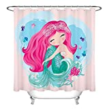 Mermaid Shower Curtain LB Little Cute Mermaid Shower Curtain Set Cartoon Girls Bathroom Curtain with Hooks 72x72 inch Waterproof Polyester Fabric Kids Bathroom Decorations