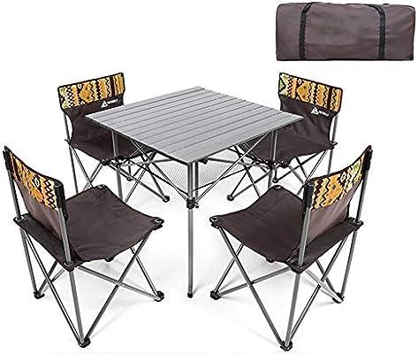 AJZGF Juego de Mesa y Silla Plegable. 4 sillas Conjunto terraza ...