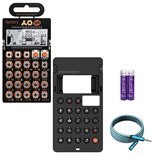 Teenage Engineering Pocket Operator PO-16 Factory Synthesizer - BUNDLED WITH - CA-16 Silicone Case, Blucoil 6-Ft Extension Cable AND 2-Pack of AAA Batteries by blucoil