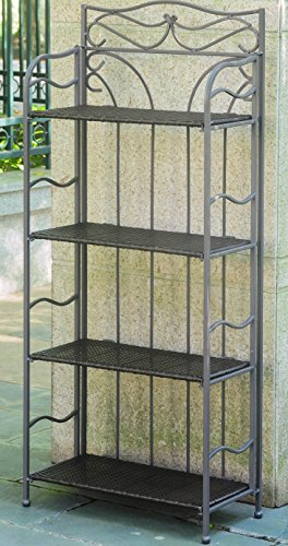 Wicker Resin 4-Tier Folding Baker Rack Wicker Wine Rack