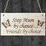 Red Ocean Step Mum By Chance Friends By Choice Wooden Hanging Plaque Love Friendship Gift Sign by Red Ocean