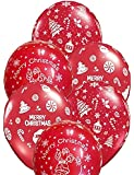 """Jindal Party Products """"Merry Christmas"""" Printed Balloons for Christmas Party Decoration (Pack of 25)"""