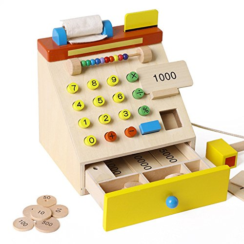 Cash Designs (ZJKC Strong and Durable Design brightly coloured Wooden Kids/Children's Cash Register Toy Cash Register Play Set Wooden Kids Pretend Toys - Supermarket Money Playset)