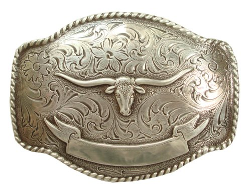 Belt Silver Finish (Antique Silver Finish Texas Longhorn Steer with Ribbon Engraved Western Belt)