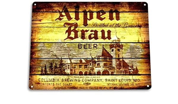 Letrero de Metal de 20,3 x 30,5 cm con Texto en inglés Alpen BRAU ...