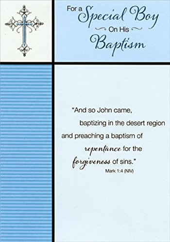 Blue Stripes and Silver Foil Cross: Special Boy - Designer Greetings Baptism Card