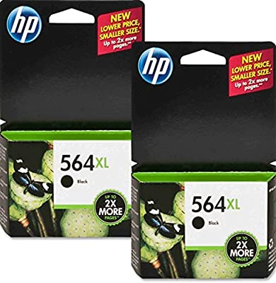 2 X HP 564XL CN684WN#140 High Yield Ink Cartridge (Black) In Retail packaging