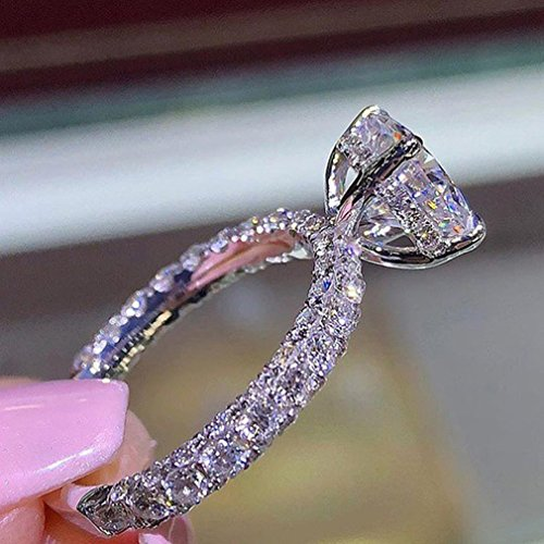 Dolland Womens Engagement Eternity Ring Rhinestone Crystal Wedding Jewelry Ring Infinity Rings for Girls,Silver,#6