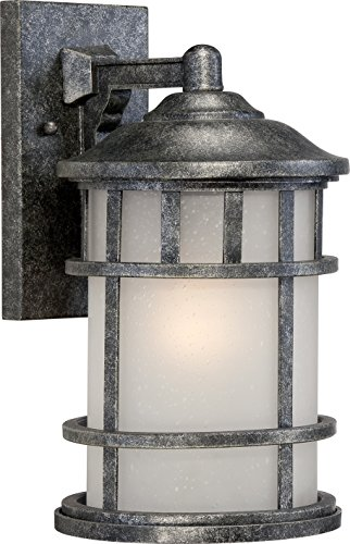 Cheap Nuvo Lighting 60/5632 Manor Industrial Medium 1-Light Wall Lantern 100-watt A19 Outdoor Porch and Patio Lighting Frosted Seed Glass, Aged Silver