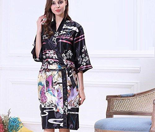 LJ&L La Sra seda del verano de la manga de baño pijamas de seda de gran tamaño chándal sola camisón,green,L Black