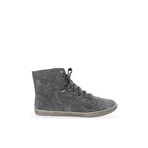 Zapatillas gris mujer oscura decoración dentada alza - 41: Amazon.es: Zapatos y complementos